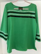 Bob Mackie Wearable Art Nwt Xl Green Striped Knit Top 3/4 Sleeves Sequin