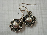 Vintage Oxidized Sterling Silver Flower Circle Dangle Earrings Re12a