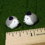 Dollhouse Miniature Hedgehogs With Top Hats - Handmade Mini Pets And Animals