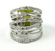 Natural Round Diamond Cluster Bypass Long Ladyand039s Ring Band 14k White Gold 1.68ct
