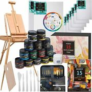 Deluxe Artist Acrylic Painting Set With Beech Wood French Easel