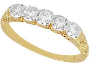 0.30ct Old Cut Diamond 14k Yellow Gold Five Stone Ring Antique 1920 Size 7