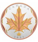Canada 2021 50 Maple Leaf In Motion Yellow And Rose Pure Silver Gold Plated Coin
