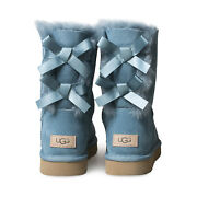 Ugg Bailey Bow Ii Cascade Suede Sheepskin Short Womenand039s Boots Size Us 7/uk 5 New