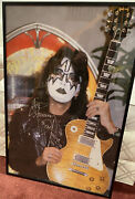 Kiss -ace Frehley Circa 1978 With 1959 Les Paul Signed By Ace. 22x33 Very Big