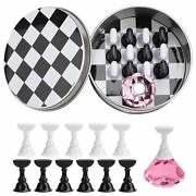 1set False Nail Tips Holder Practice Training Display Stand Chess Board Magnetic