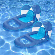 Swimways Spring Float Recliner W/ Canopy Swimming Pool Collapsible Lounger -2 Pk