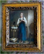 Antique Oil Paintig On Board Of Young Woman After William Bouguereau 1825-1905