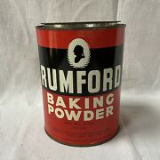 """Rumford Baking Powder Tin Can Canister W Biscuits Recipe 5 Lbs Pound 7"""" Kitchen"""