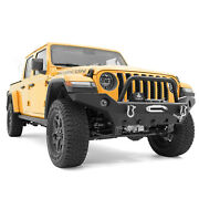 Full Width Front Bumper+winch Plate+fog Light+d-ring Fit 20-21 Jeep Gladiator Jt