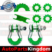 1pair 3/4 Silver 4.75 Ton D-ring Shackle+green Isolator Washers Silencer Clevis