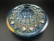 Vtg Indiana Blue Iridescent Carnival Glass Candy Dish+cover Windsor Buttonandcane