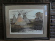 James Asher Signed Original Lithograph Southwestern Landscape Indian Camp Teepee