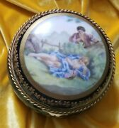 Antique French Sevres Porcelain And Bronze Jewerly Or Trinket Box Signed By Artist