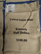 2001 P And D 100 Face Value Mint Sewn Bag Kennedy Halves
