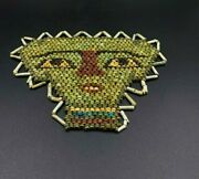 Old Antique Glass Mosaic Beads Mask Face Figure From Ancient Roman's Time Egypt