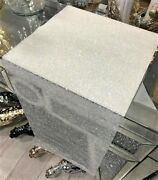 New Sparkly Ab White Crushed Crystal Diamond Dining Table Runner Table 120cm Uk