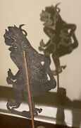 Antique Indonesian Buffalo Hide Leather Flat Shadow Hand Puppet With Cane Stick