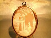 Victorian 14k Hand Carved Farm Scene With Girl Cameo Shell Brooch Pin