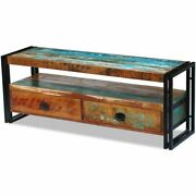 Vintage Tv Cabinet Solid Reclaimed Wood Tv Stand Unit With 2 Drawers Handmade
