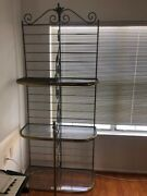 Antique Wrought Iron French Bakers Rack