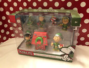 Peanuts Holiday Figures Lot Deluxe Set Football Christmas Lucy Charlie Brown New