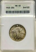 1923 U.s. 25c Standing Liberty Quarter Anacs Ms65 Old Holder Nice Coin