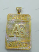 Men's Custom Name And Initial Letters Dog Tag Pendant Charm 14k Yellow Gold Finish