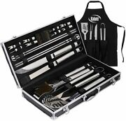 Deluxe Grill Set Accessories 21 Piece Set Heavy Duty Stainless Steel Bbq Tools