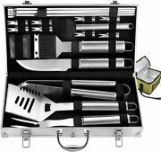 20pc Complete Grill Accessories Kit Cooler Bag Outdoor Camping Grilling Silver