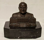 Harry S. Truman Bronze Bust Sculpture By Renandeacute Shapshak 1959 Signed And Dated
