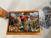 Fall Harvest Puzzle Farm Scene Animals Serendipity In Tube 500 Pc W Poster