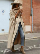 Zara Woman Long Limited Edition Cape Buttoned Coat Camel 52 Wool L 8183/660