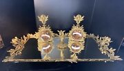 Vintage Perfume Bottles And Mirror Cherub Ormolu French Filagree Vanity Set