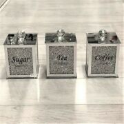 Silver Crushed Diamond Crystal Filled Tea Coffee Sugar Canisters Jars Square