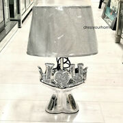 Silver Crushed Diamond Crystal Lamp With Shade Ornament Home Decor Gift Diamante