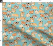 Light Blue Hamster Small Animals Pets Guinea Pig Spoonflower Fabric By The Yard