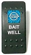 Euro Rocker Switch Cover- Bait Well. Black With Blue Lens. Contura Ii.