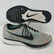 Nike Flyknit Racer 3.0 Running Shoes Mens Size 9.5 Rainbow Multi Color Training