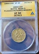 1866 S 5 Half Eagle With Motto Weak S Anacs Vf 30 Details