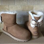 Ugg Classic Bailey Double Bow Fur Chestnut Suede Mini Boots Size Us 7 Women