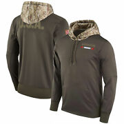 Menand039s Tampa Bay Buccaneers Olive Salute Service Sideline Therma Pullover Hoodie