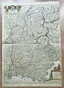 River Rhone Mont Blanc 1690 Vignola And Rossi Very Large Antique Map Double Page