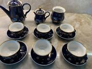 Very Rare vintage Hand Made In Ussr Cobalt And 24k Gold Tea/coffee Set