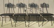 Set 4 Atomic Mid Century Modern Wrought Iron Dining Chairs Poly Of Calif. 1950and039s