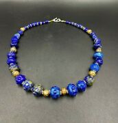 Old Antique Vintage Jewelry Beads Necklace Of Lapis Lazuli