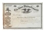 1800and039s Stock Certificate Gila River Mining Co. Of New Orleans La Unissued