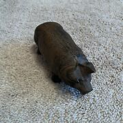 Iron Pig Figurine Collectible Heavy High Quality Rustic Farm Animal Decor Stand