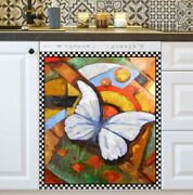 Kitchen Dishwasher Magnet - Beautiful Butterfly On Abstract Background 1