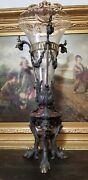 Antique 19th Century French Crystal And Bronze Allegorical Vase
